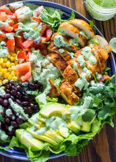 Southwestern chicken salad with creamy cilantro dressing is 1000x more delicious, fresher, and healthier than any restaurant salad at a