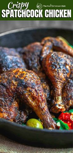 BEST, cripsiest, and absolutely succulent spatchcock chicken! This recipe will change your roast chicken game forever! Give it a try ASAP Vegetarian Recipes Easy, Clean Eating Recipes, Healthy Dinner Recipes, Healthy Dinners, Easy Recipes, Easy Mediterranean Recipes, Mediterranean Dishes, Herb Roasted Chicken, Roast Chicken