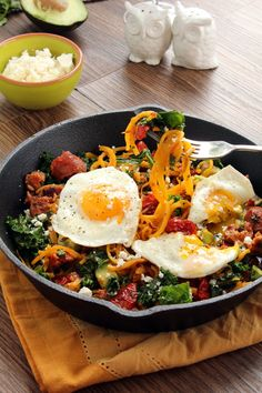 Smoked Chorizo and Butternut Squash Noodle Skillet with Avocado, Kale and Fried Eggs