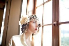 flapper style ivory veil / custom crochet bridal flower veil by Batcakes Couture