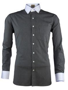 Reverse Stripes on Black Banker's Shirt