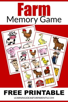 Free Games For Kids, Memory Games For Kids, Printer Paper, Matching Games, Child Love, Educational Activities, Book Lists, Farms, Kids Learning