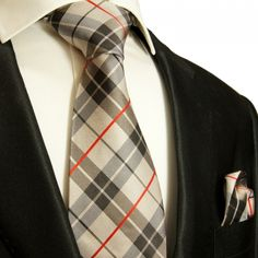 Paul Malone Silk Necktie and Pocket Square . Brown Plaid (983H)