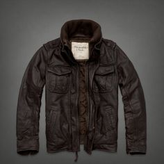 Mens Genuine Leather Bomber Jacket | Mens Outerwear | Abercrombie.com $500 Large He wants this really bad and the shoes/belt combos.