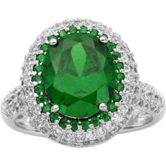 DiamonArt Sterling Silver Green Oval Cubic Zirconia Halo Ring ($125) ❤ liked on Polyvore featuring jewelry, rings, sterling silver jewellery, oval ring, sterling silver cz rings, green ring and cz jewelry