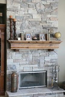 Stone Fireplaces and Wood Mantels - traditional - family room - chicago - by North Star Stone