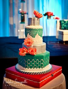 Coral & Teal Wedding Cake Design