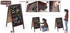 """Sidewalk Signs Offer 17"""" x 28"""" Blackboard Space for Wet-Erase Marker or Liquid Chalk Messages on Either Side, Mahogany Finish Wood, A-Frame Design, Top Hinges, Locking Gate, Rubber Feet"""