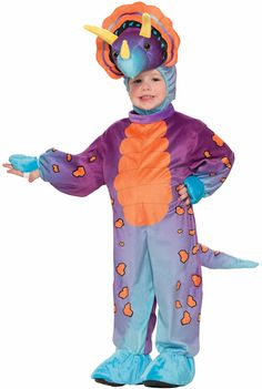 Forum Novelties Kids Spunky Triceratops Costume, Multicolor, Toddler. Full body spunky triceratops costume. Plush costume features hood with dinosaur face, jumpsuit with attached hand and shoe covers. Costumes are not sized the same as clothing, be sure to review the Forum Size Chart to make the best choice for your child. Look to Forum Novelties for other plush unisex costumes including dragons, penguins, and monsters. Made by Forum Novelties, a leader in costumes and novelty products…