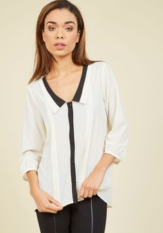 I ordered this blouse but I had to send it back. I love it except it is too low cut in the front for me to wear to work. I don't want everyone in the meeting to be staring at clevage.