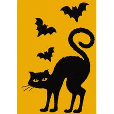 Halloween Indoor Window Cling or Hang Decorations- Cat and Bats