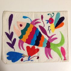 Items similar to Embroidered Mexican Otomi, carp, goldfish on Etsy Local Embroidery, Mexican Embroidery, Types Of Embroidery, Folk Embroidery, Embroidery Patterns, Computerized Embroidery Machine, Machine Embroidery, Learning To Embroider, Weaving Textiles