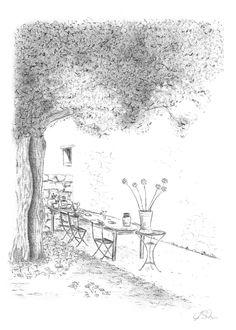 Zeichnung sommerlicher Hof. Bleistift, Graphit, Din A4.