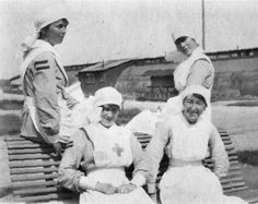 During the autumn of 1917, a series of 'stripes' were introduced for VADs to wear on the sleeve of their dresses. White stripes were issued to denote length of service for VADs working for the Joint War Committee, and red stripes to VADs under contract to the War Office to denote that they had been certificated as 'efficient'. could also be awarded efficiency stripes which were blue in colour.   two red 'efficiency' stripes  at least two years continuous service in military hospitals