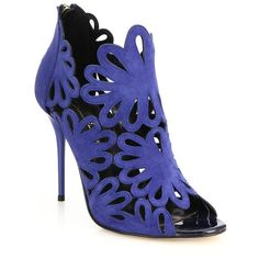 Oscar de la Renta Jeralina Suede Peep-Toe Booties (9.261.170 VND) ❤ liked on Polyvore featuring shoes, boots, ankle booties, apparel & accessories, blue, cut-out booties, floral boots, blue boots, cut out peep toe booties and suede boots