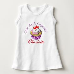"Such a cute graphic with a pretty cupcake topped with pink icing, cream and red love hearts. Funny text message ""Cute As A Cupcake"". Don't forget to customize with a personal name at no extra cost. Adorable for baby's and toddlers and ideal if your looking for a new baby or birthday gift."
