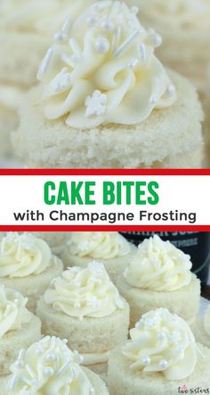I love these Cake Bites with Champagne Frosting! What a unique Christmas dessert recipe. Can't wait for my party guests to try Champagne Frosting!!! #ChristmasRecipes #ChristmasDessertRecipes #ChampagneDesserts
