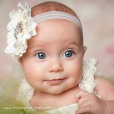 @Amber Wyatt Baby Headband Newborn Headband Cream Flower by MayaJAccessories, $10.95