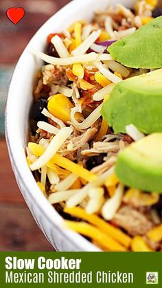 Looking for slow cooker shredded chicken recipes? Try this Mexican shredded chicken recipe in your crock-pot for dinner. Make into rice bowls with beans. Or use in tacos or burritos. Slow Cooker Mexican Chicken, Slow Cooker Shredded Chicken, Mexican Shredded Chicken, Shredded Chicken Recipes, Best Chicken Recipes, Slow Cooker Recipes, Crockpot Recipes, Healthy Recipes, Mexican Food Recipes