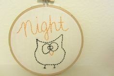 I have hand embroidered Night Owl onto a wooden 5 hoop. This is a great gift idea for a child, owl lover, Valentines Day, christmas gift. This item can