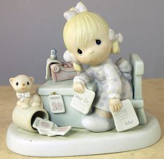 Poor Mom, so busy, and all those bills! PRAISE THE LORE ANYHOW - Precious Moments figurine
