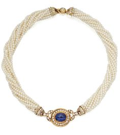 GOLD,  CABOCHON  SAPPHIRE,  DIAMOND  AND  CULTURED  PEARL  NECKLACE,  CARTIER. Photo via Sotheby's.