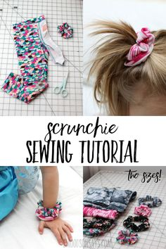 See how to sew a scrunchie with a free tutorial in two sizes! This is a great way to use up old leggings; a fun upcycle beginner sewing tutorial. #sewing #upcycle #scrunchie Sewing Patterns For Kids, Easy Sewing Projects, Sewing Projects For Beginners, Sewing For Kids, Sewing Hacks, Sewing Tutorials, Sewing Crafts, Sewing Tips, Tutorial Sewing