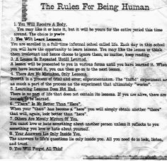 The RULES FOR BEING HUMAN... | Share Inspire Quotes - Inspiring Quotes | Love Quotes | Funny Quotes | Quotes about Life