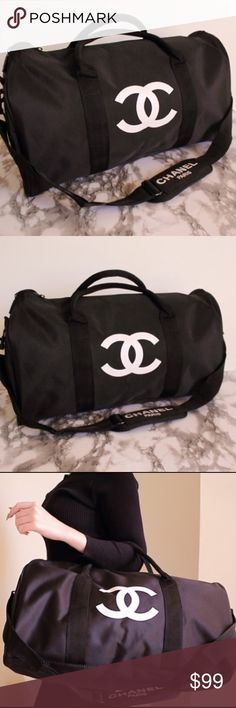 "Auth Chanel VIP Gym Sport Duffle Travel Bag Authentic VIP gift bag from Chanel beauty corner. New in original packaging. Please Note VIP gifts do not come with certificates of authenticity and don't have serial numbers inside.  Size L 18 X H 12"" X D 8""/ 48cm x 27cm x 23cm  Gift with purchase from beauty corner and not available for sale in stores. CHANEL Bags Shoulder Bags"