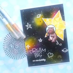 Galaxy Background, Mama Elephant, Watercolor Cards, Distress Ink, Tim Holtz, Dream Big, I Card, Stamps, Instagram Posts
