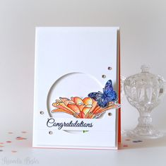 Handmade Congratulations Card with a flower and butterfly - Uniko studio Gerbera stamp set - Hannelie Bester Beautiful Handmade Cards, Congratulations Card, Gerbera, Clear Stamps, I Card, Hand Stamped, Birthday Cards, Cool Designs, Christmas Cards