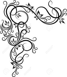 Beautiful Floral Corner Royalty Free Cliparts Vectors And Stock Illustration. Stencil Patterns, Stencil Designs, Embroidery Patterns, Swirl Design, Border Design, Wood Burning Patterns, Pinstriping, Scroll Design, Motif Floral