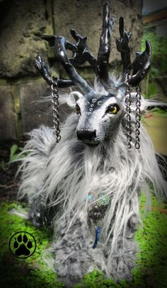 Merlin the storm rider caribou poseable art doll/sculpture OOAK.