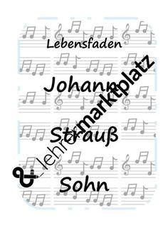 Lebensfaden Johann Strauß Sohn – Unterrichtsmaterial im Fach Musik Johann Strauss, Math Equations, Orchestra, Concert, Function Composition, Teaching Materials