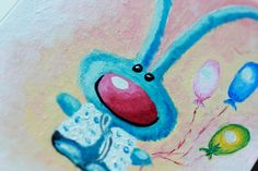 Turquoise hare with balls - Original oil painting - Animal -Modern style - Decor for children room - One of a kind!