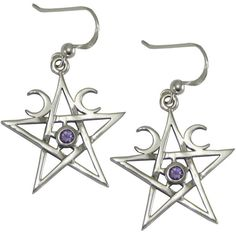 Sterling Silver Crescent Moon Pentagram Earrings with Natural Amethyst ($30) ❤ liked on Polyvore featuring jewelry, earrings, amethyst jewelry, earring jewelry, sterling silver earrings, sterling silver amethyst jewelry and pentagram earrings