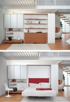 While putting together today's Good Question on Murphy Beds, we came across some nice (and pretty rare!) examples of modern wall beds. Such a smart space saver, we're pleased to finally start seeing less traditional styling for these more often...