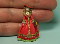 "1/48 quarter scale cloth and wood lady doll silk gown handmade OOAK 1/4"" scale 
