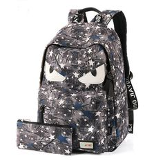 Cartoon Star Printing Little Monster School Bag Graffiti Canvas Backpack Lace Backpack, Striped Backpack, Floral Backpack, Backpack Bags, Monster Backpack, Boys Backpacks, Backpacks For Sale, School Backpacks, Canvas Backpacks