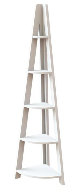 Homewish - Tiva Ladder Corner Bookcase Unit with 5 Shelves in White Finish by LPD Furniture Corner Ladder Shelf, Corner Shelving Unit, Corner Display Unit, Glass Shelving Unit, Wall Mounted Shelves, Shelving Units, Home Furniture Online, Quality Furniture, White Shelves