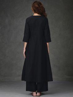 Black A-Line Khadi Cotton Kurta with Tagai Work New Dress Pattern, Dress Patterns, Modest Dresses, Cute Dresses, Black Kurti, A Line Kurta, Bollywood Dress, Vogue, Mode Hijab