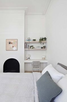 The existing architecture of your home might throw up the perfect spot for a simple desk and shelves, which can double as surfaces for display when they're not in use. Designed by Clare Cousins Architects Bedroom Desk, Home Bedroom, Bedrooms, Home Office, Study Nook, Kids Study, Simple Desk, Spare Room, Cheap Home Decor