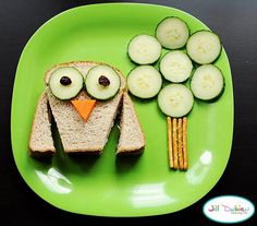 Tot Lunch. FOOD ART. Cute Food. Picture Plate. After school SNACK. OWL Sandwich & Cucumber TREE by Jill Dubien.