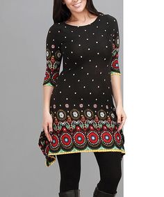 Look what I found on #zulily! Black & Red Circle Sidetail Tunic - Plus #zulilyfinds