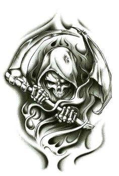 "Amazon.com: Grim Reaper Wraith Temporary Body Art Tattoos 2.5"" x 3.5"": Clothing"