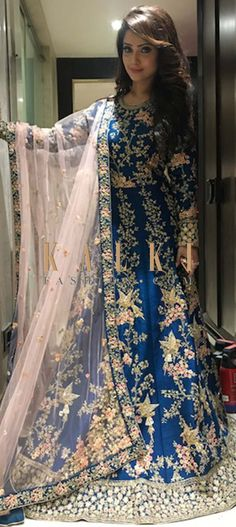 Buy Online from the link below. We ship worldwide (Free Shipping over US$100)  Click Anywhere to Tag Adaa Khan in Kalki blue anarkali suit with embossed in zardosi work
