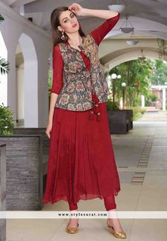 Maroon Color Chiffon And Satin Jacket Style A-line Salwar Kameez