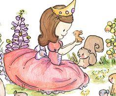 Children Art Print. A Princess in Her Garden. por LoxlyHollow