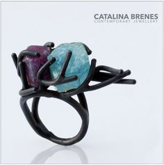 Custom made ring for a special client / Catalina Brenes / Ring in oxidized Silver 925, Ruby and Tourmaline / unique piece / hand made / 2015.