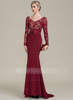 f37471b1bfe16e Trumpet Mermaid V-neck Sweep Train Lace Jersey Mother of the Bride Dress  Mother